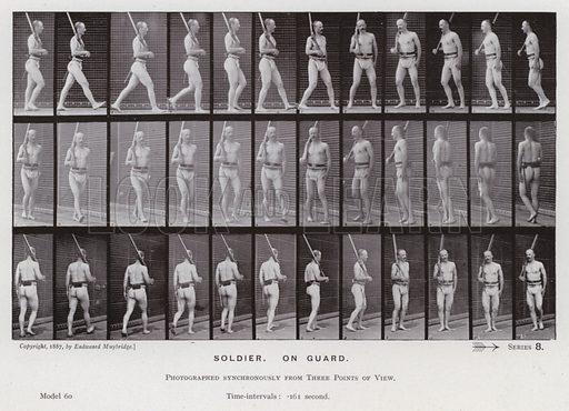 Soldier, on guard. Illustration for The Human Figure in Motion, An Electro-Photographic Investigation of Consecutive Phases of Muscular Actions by Eadweard Muybridge (6th edn, Chapman and Hall, nd).