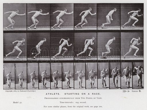 Athlete, starting on a race. Illustration for The Human Figure in Motion, An Electro-Photographic Investigation of Consecutive Phases of Muscular Actions by Eadweard Muybridge (6th edn, Chapman and Hall, nd).