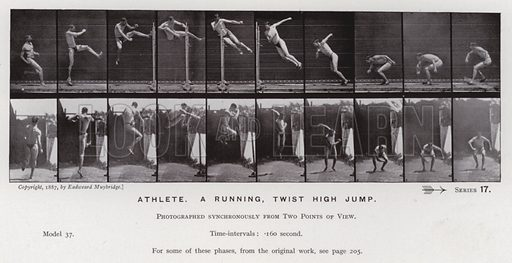 Athlete, a running, twist high jump. Illustration for The Human Figure in Motion, An Electro-Photographic Investigation of Consecutive Phases of Muscular Actions by Eadweard Muybridge (6th edn, Chapman and Hall, nd).