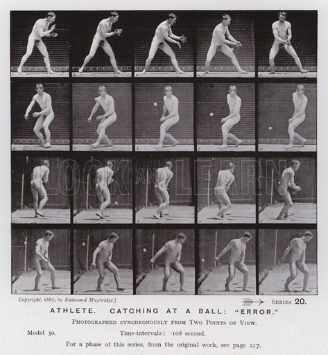 """Athlete, catching at a ball, """"error."""" Illustration for The Human Figure in Motion, An Electro-Photographic Investigation of Consecutive Phases of Muscular Actions by Eadweard Muybridge (6th edn, Chapman and Hall, nd)."""