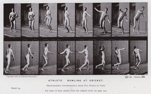 Athlete, bowling at cricket. Illustration for The Human Figure in Motion, An Electro-Photographic Investigation of Consecutive Phases of Muscular Actions by Eadweard Muybridge (6th edn, Chapman and Hall, nd).