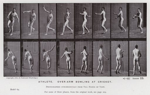 Athlete, over-arm bowling at cricket. Illustration for The Human Figure in Motion, An Electro-Photographic Investigation of Consecutive Phases of Muscular Actions by Eadweard Muybridge (6th edn, Chapman and Hall, nd).