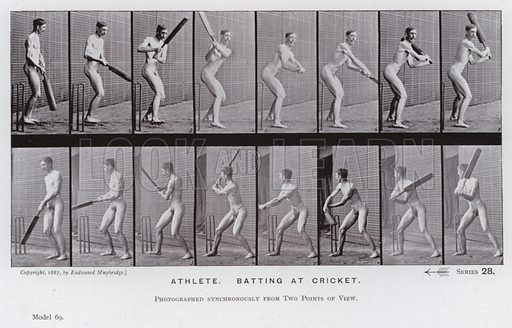 Athlete, batting at cricket. Illustration for The Human Figure in Motion, An Electro-Photographic Investigation of Consecutive Phases of Muscular Actions by Eadweard Muybridge (6th edn, Chapman and Hall, nd).