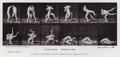 Athletes, Wrestling. Illustration for The Human Figure in Motion, An Electro-Photographic Investigation of Consecutive Phases of Muscular Actions by Eadweard Muybridge (6th edn, Chapman and Hall, nd).