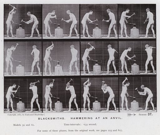 Blacksmiths, hammering at an anvil. Illustration for The Human Figure in Motion, An Electro-Photographic Investigation of Consecutive Phases of Muscular Actions by Eadweard Muybridge (6th edn, Chapman and Hall, nd).