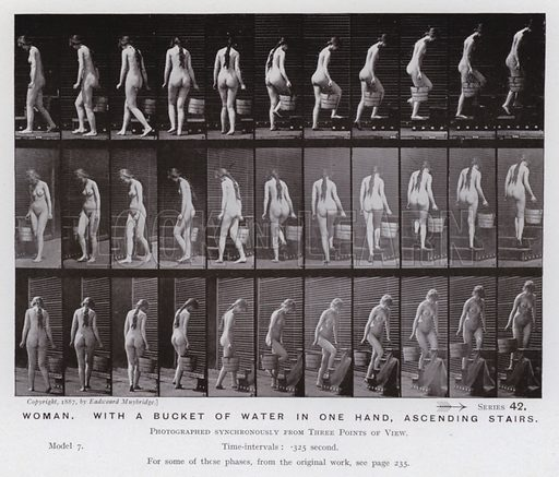 Woman, with a bucket of water in one hand, ascending stairs. Illustration for The Human Figure in Motion, An Electro-Photographic Investigation of Consecutive Phases of Muscular Actions by Eadweard Muybridge (6th edn, Chapman and Hall, nd).