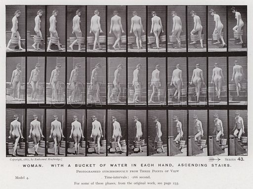 Woman, with a bucket of water in each hand, ascending stairs. Illustration for The Human Figure in Motion, An Electro-Photographic Investigation of Consecutive Phases of Muscular Actions by Eadweard Muybridge (6th edn, Chapman and Hall, nd).