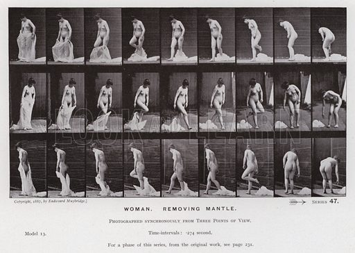 Woman, removing mantle. Illustration for The Human Figure in Motion, An Electro-Photographic Investigation of Consecutive Phases of Muscular Actions by Eadweard Muybridge (6th edn, Chapman and Hall, nd).