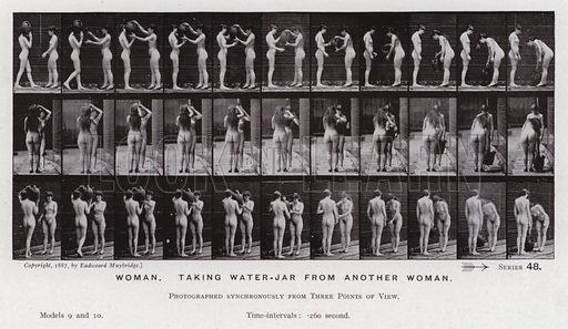 Woman, taking water-jar from another woman. Illustration for The Human Figure in Motion, An Electro-Photographic Investigation of Consecutive Phases of Muscular Actions by Eadweard Muybridge (6th edn, Chapman and Hall, nd).