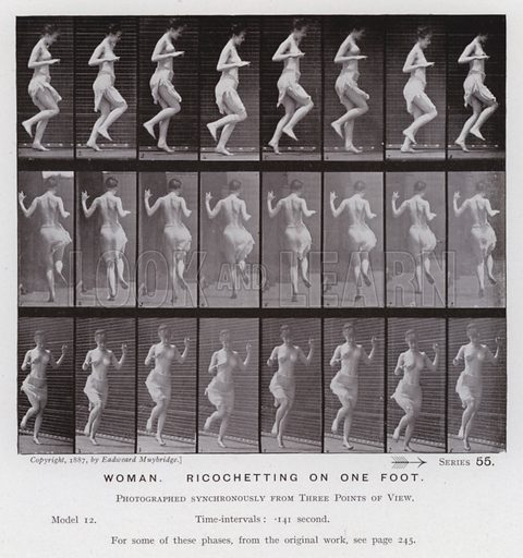 Woman, ricochetting on one foot. Illustration for The Human Figure in Motion, An Electro-Photographic Investigation of Consecutive Phases of Muscular Actions by Eadweard Muybridge (6th edn, Chapman and Hall, nd).