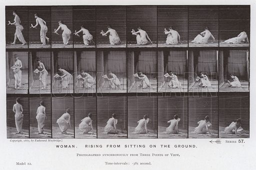 Woman, rising from sitting on the ground. Illustration for The Human Figure in Motion, An Electro-Photographic Investigation of Consecutive Phases of Muscular Actions by Eadweard Muybridge (6th edn, Chapman and Hall, nd).