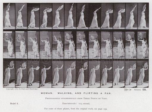 Woman, walking and flirting a fan. Illustration for The Human Figure in Motion, An Electro-Photographic Investigation of Consecutive Phases of Muscular Actions by Eadweard Muybridge (6th edn, Chapman and Hall, nd).