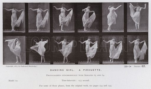 Dancing girl, a pirouette. Illustration for The Human Figure in Motion, An Electro-Photographic Investigation of Consecutive Phases of Muscular Actions by Eadweard Muybridge (6th edn, Chapman and Hall, nd).