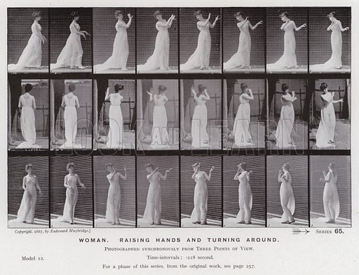 Woman, raising hands and turning around. Illustration for The Human Figure in Motion, An Electro-Photographic Investigation of Consecutive Phases of Muscular Actions by Eadweard Muybridge (6th edn, Chapman and Hall, nd).
