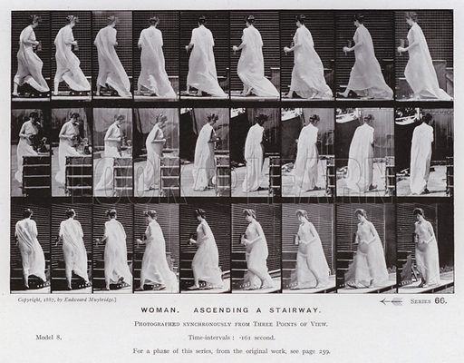 Woman, ascending a stairway. Illustration for The Human Figure in Motion, An Electro-Photographic Investigation of Consecutive Phases of Muscular Actions by Eadweard Muybridge (6th edn, Chapman and Hall, nd).
