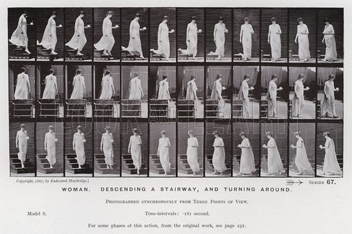 Woman, descending a stairway, and turning around. Illustration for The Human Figure in Motion, An Electro-Photographic Investigation of Consecutive Phases of Muscular Actions by Eadweard Muybridge (6th edn, Chapman and Hall, nd).