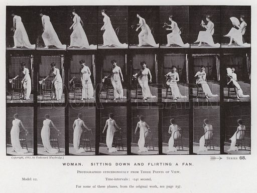 Woman, sitting down and flirting a fan. Illustration for The Human Figure in Motion, An Electro-Photographic Investigation of Consecutive Phases of Muscular Actions by Eadweard Muybridge (6th edn, Chapman and Hall, nd).