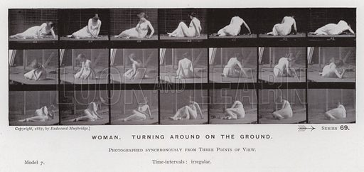 Woman, turning around on the ground. Illustration for The Human Figure in Motion, An Electro-Photographic Investigation of Consecutive Phases of Muscular Actions by Eadweard Muybridge (6th edn, Chapman and Hall, nd).