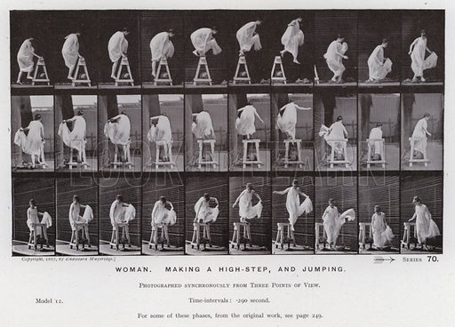 Woman, making a high-step, and jumping. Illustration for The Human Figure in Motion, An Electro-Photographic Investigation of Consecutive Phases of Muscular Actions by Eadweard Muybridge (6th edn, Chapman and Hall, nd).