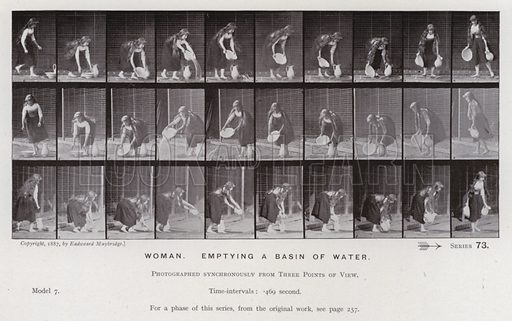 Woman, emptying a basin of water. Illustration for The Human Figure in Motion, An Electro-Photographic Investigation of Consecutive Phases of Muscular Actions by Eadweard Muybridge (6th edn, Chapman and Hall, nd).