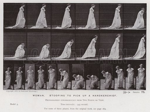 Woman, stooping to pick up a handkerchief. Illustration for The Human Figure in Motion, An Electro-Photographic Investigation of Consecutive Phases of Muscular Actions by Eadweard Muybridge (6th edn, Chapman and Hall, nd).