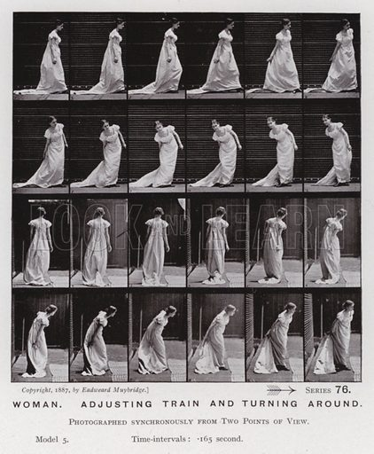 Woman, adjusting train and turning around. Illustration for The Human Figure in Motion, An Electro-Photographic Investigation of Consecutive Phases of Muscular Actions by Eadweard Muybridge (6th edn, Chapman and Hall, nd).