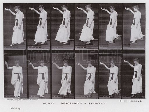 Woman, descending a stairway. Illustration for The Human Figure in Motion, An Electro-Photographic Investigation of Consecutive Phases of Muscular Actions by Eadweard Muybridge (6th edn, Chapman and Hall, nd).