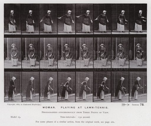 Woman, playing at lawn-tennis. Illustration for The Human Figure in Motion, An Electro-Photographic Investigation of Consecutive Phases of Muscular Actions by Eadweard Muybridge (6th edn, Chapman and Hall, nd).