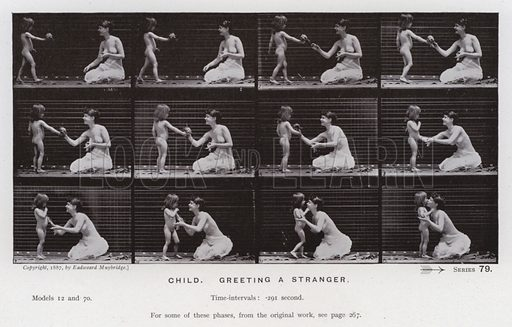 Child, greeting a stranger. Illustration for The Human Figure in Motion, An Electro-Photographic Investigation of Consecutive Phases of Muscular Actions by Eadweard Muybridge (6th edn, Chapman and Hall, nd).