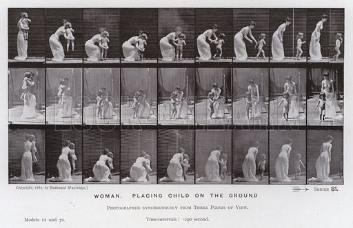 Woman, placing child on the ground. Illustration for The Human Figure in Motion, An Electro-Photographic Investigation of Consecutive Phases of Muscular Actions by Eadweard Muybridge (6th edn, Chapman and Hall, nd).