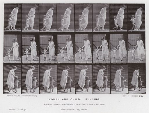 Woman and child, Running. Illustration for The Human Figure in Motion, An Electro-Photographic Investigation of Consecutive Phases of Muscular Actions by Eadweard Muybridge (6th edn, Chapman and Hall, nd).