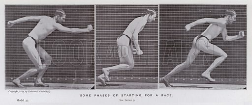 Some phases of starting a race. Illustration for The Human Figure in Motion, An Electro-Photographic Investigation of Consecutive Phases of Muscular Actions by Eadweard Muybridge (6th edn, Chapman and Hall, nd).