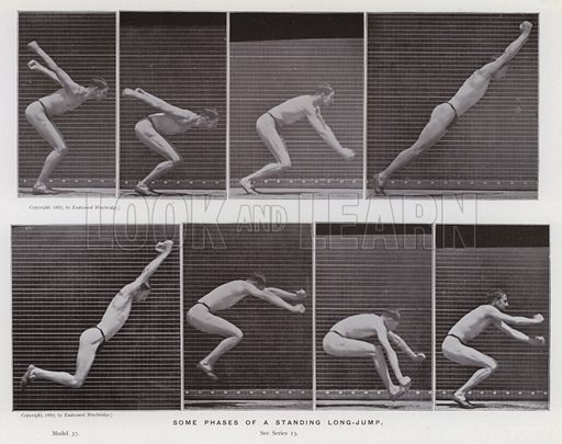 Some phases of a standing long-jump. Illustration for The Human Figure in Motion, An Electro-Photographic Investigation of Consecutive Phases of Muscular Actions by Eadweard Muybridge (6th edn, Chapman and Hall, nd).
