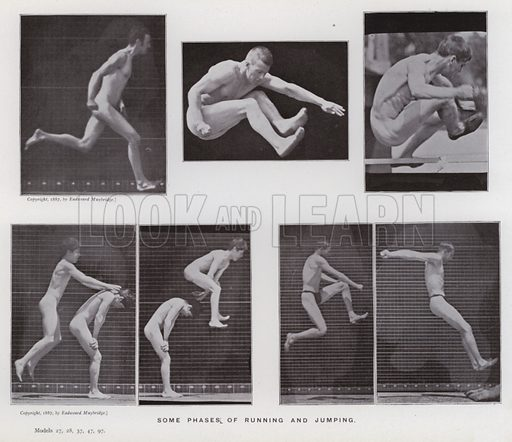 Some phases of running and jumping. Illustration for The Human Figure in Motion, An Electro-Photographic Investigation of Consecutive Phases of Muscular Actions by Eadweard Muybridge (6th edn, Chapman and Hall, nd).