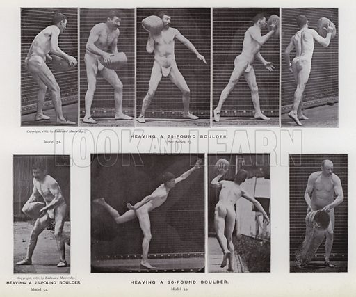 Heaving a 75-pound boulder; Heaving a 20-pound boulder. Illustration for The Human Figure in Motion, An Electro-Photographic Investigation of Consecutive Phases of Muscular Actions by Eadweard Muybridge (6th edn, Chapman and Hall, nd).