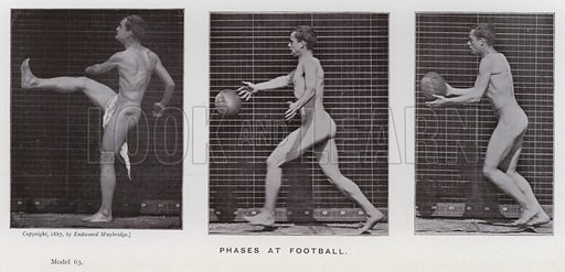 Phases at football. Illustration for The Human Figure in Motion, An Electro-Photographic Investigation of Consecutive Phases of Muscular Actions by Eadweard Muybridge (6th edn, Chapman and Hall, nd).