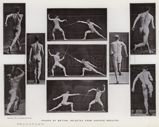 Phases of motion, selected from various seriates. Illustration for The Human Figure in Motion, An Electro-Photographic Investigation of Consecutive Phases of Muscular Actions by Eadweard Muybridge (6th edn, Chapman and Hall, nd).