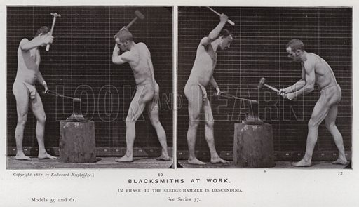 Blacksmiths at work. Illustration for The Human Figure in Motion, An Electro-Photographic Investigation of Consecutive Phases of Muscular Actions by Eadweard Muybridge (6th edn, Chapman and Hall, nd).