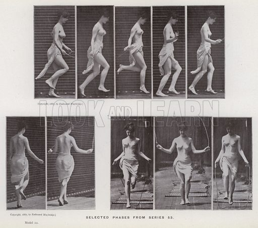 Selected phases from series 53. Illustration for The Human Figure in Motion, An Electro-Photographic Investigation of Consecutive Phases of Muscular Actions by Eadweard Muybridge (6th edn, Chapman and Hall, nd).