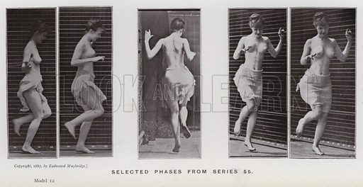 Selected phases from series 55. Illustration for The Human Figure in Motion, An Electro-Photographic Investigation of Consecutive Phases of Muscular Actions by Eadweard Muybridge (6th edn, Chapman and Hall, nd).