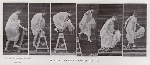 Selected phases from series 70. Illustration for The Human Figure in Motion, An Electro-Photographic Investigation of Consecutive Phases of Muscular Actions by Eadweard Muybridge (6th edn, Chapman and Hall, nd).