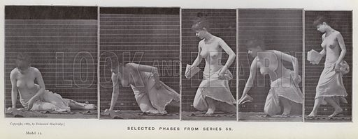 Selected phases from series 56. Illustration for The Human Figure in Motion, An Electro-Photographic Investigation of Consecutive Phases of Muscular Actions by Eadweard Muybridge (6th edn, Chapman and Hall, nd).