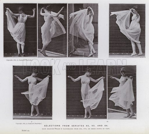 Selections from seriates 62, 63, and 64. Illustration for The Human Figure in Motion, An Electro-Photographic Investigation of Consecutive Phases of Muscular Actions by Eadweard Muybridge (6th edn, Chapman and Hall, nd).