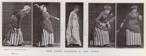 Some phases occurring in lawn tennis. Illustration for The Human Figure in Motion, An Electro-Photographic Investigation of Consecutive Phases of Muscular Actions by Eadweard Muybridge (6th edn, Chapman and Hall, nd).