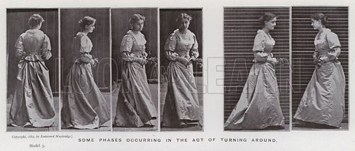 Some phases occurring in the act of turning around. Illustration for The Human Figure in Motion, An Electro-Photographic Investigation of Consecutive Phases of Muscular Actions by Eadweard Muybridge (6th edn, Chapman and Hall, nd).