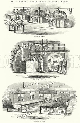 Mr T Welch's table-cloth printing works. Illustration for The Illustrated Exhibitor and Magazine of Art (John Cassell, 1852).
