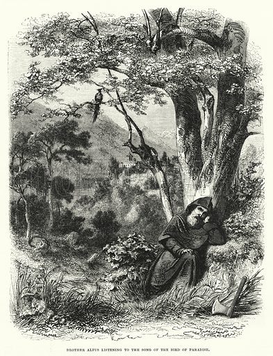 Brother Alfus listening to the song of the bird of paradise. Illustration for The Illustrated Exhibitor and Magazine of Art (John Cassell, 1852).