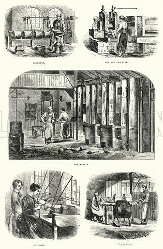 Gillott's Steel Pen Manufactory. Illustration for The Illustrated Exhibitor and Magazine of Art (John Cassell, 1852).