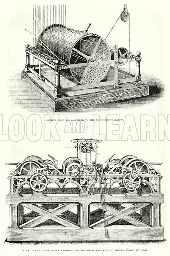 Messrs John Moore and Sons' Clock Factory. Illustration for The Illustrated Exhibitor and Magazine of Art (John Cassell, 1852).