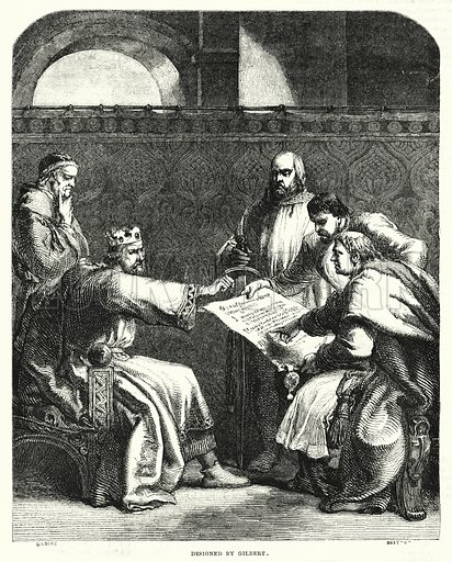 King John refusing to sign the Magna Charta at Oxford, in 1215. Illustration for The Illustrated Exhibitor and Magazine of Art (John Cassell, 1852).